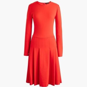 J. Crew Pleated Ponte Dress in Brilliant Flame